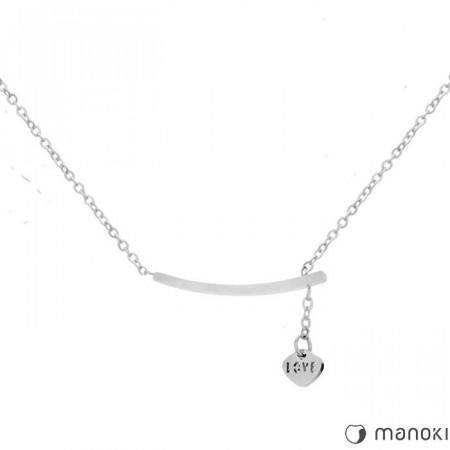 WA300 srebrny damski naszyjnik z napisem Love