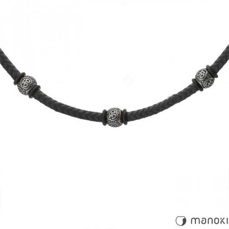 WA354B czarny naszyjnik męski w stylu etno z bawełnianego sznurka