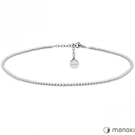 WA372 minimalistyczny naszyjnik z kuleczek, kolor srebrny