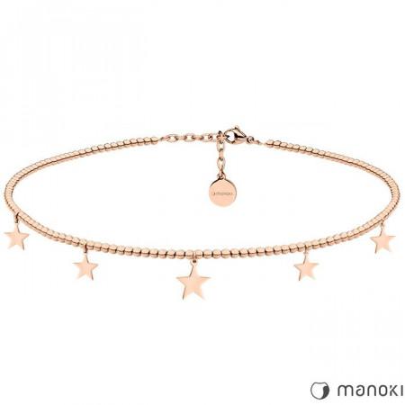 WA373R naszyjnik choker z drobnych kuleczek z gwiazdkami, różowe złoto