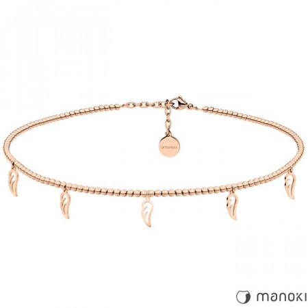 WA376R naszyjnik choker z piórkami, różowe złoto