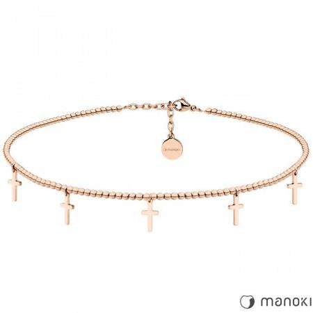 WA378R naszyjnik choker z krzyżykami, różowe złoto