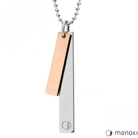 WA401R Naszyjnik SIMPLE, dwie blaszki na kulkowym łańcuszku, różowe złoto