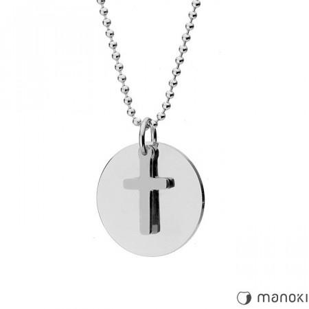 WA402 srebrny medalion z krzyżem MODERN na kulkowym łańcuszku
