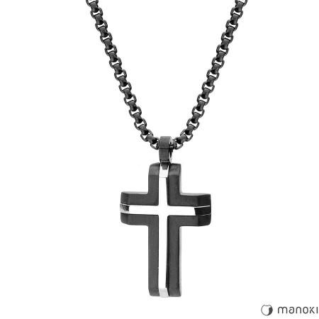 WA425B naszyjnik czarno-srebrno krzyż