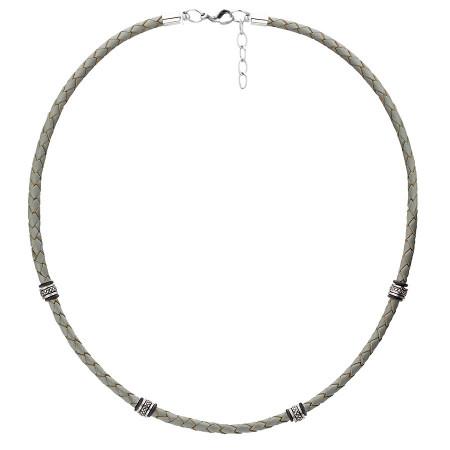 WA462S szary naszyjnik męski rzemień, beads
