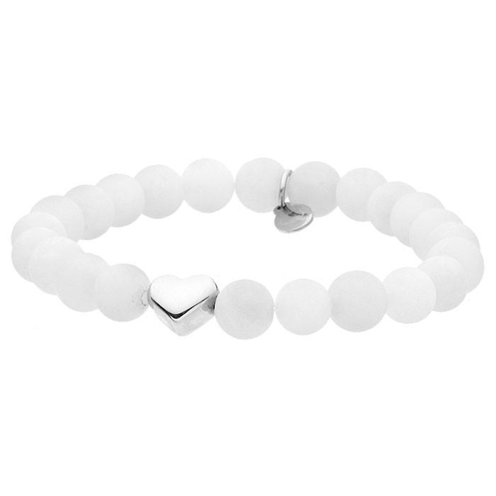 White talisman, biała bransoletka, z serduszkiem w kolorze srebra