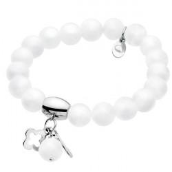 White talisman, jadeit, biała bransoletka z koniczynką i kluczykiem