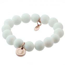 White talisman, jadeit, biała bransoletka z medalikiem