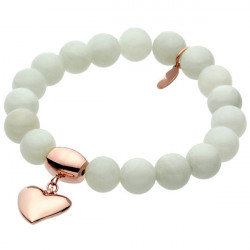 White talisman, jadeit, biała bransoletka z serduszkiem