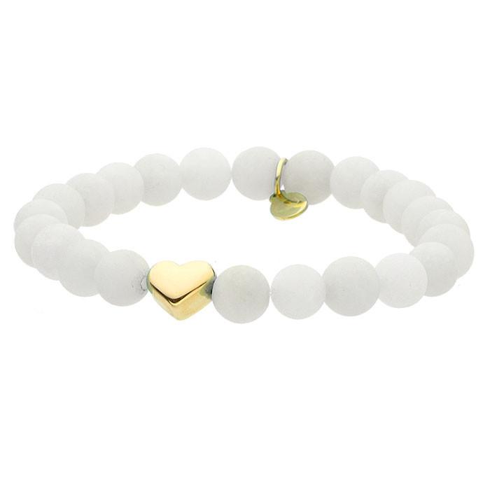 White talisman, jadeit, biała bransoletka ze złotym serduszkiem
