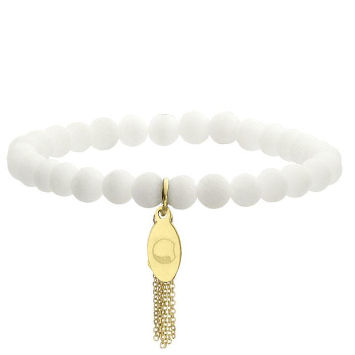 White talisman, jadeit, biała bransoletka, złoty chwost