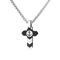 Wisiorek krzyżyk na łańcuszku czarno srebrny z kotwicą stal szlachetna