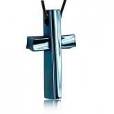 wisiorek męski, niebieski krzyż