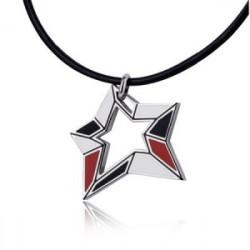 Wisiorek męski w kształcie gwiazdy, czarno-czerwony
