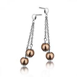 Wiszące kolczyki z brązowymi perłami Swarovski
