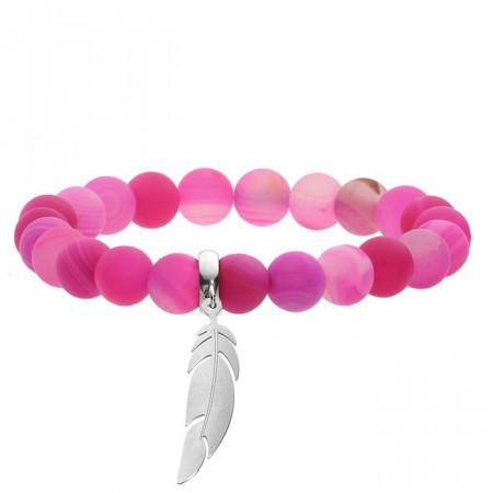Wzmacniająca, agat, różowa bransoletka z piórkiem