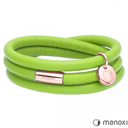 Zielona bransoletka damska skórzana