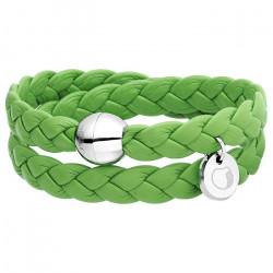 Zielona bransoletka damska ze skóry naturalnej