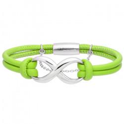 Zielona bransoletka damska ze znakiem nieskończoności