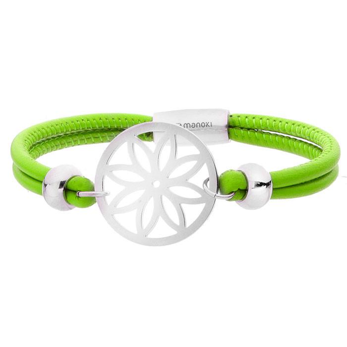 Zielona, skórzana bransoletka damska z ażurowym kwiatem