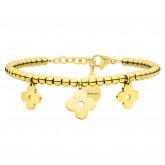 Złota bransoletka damska, kwiat, koniczyna