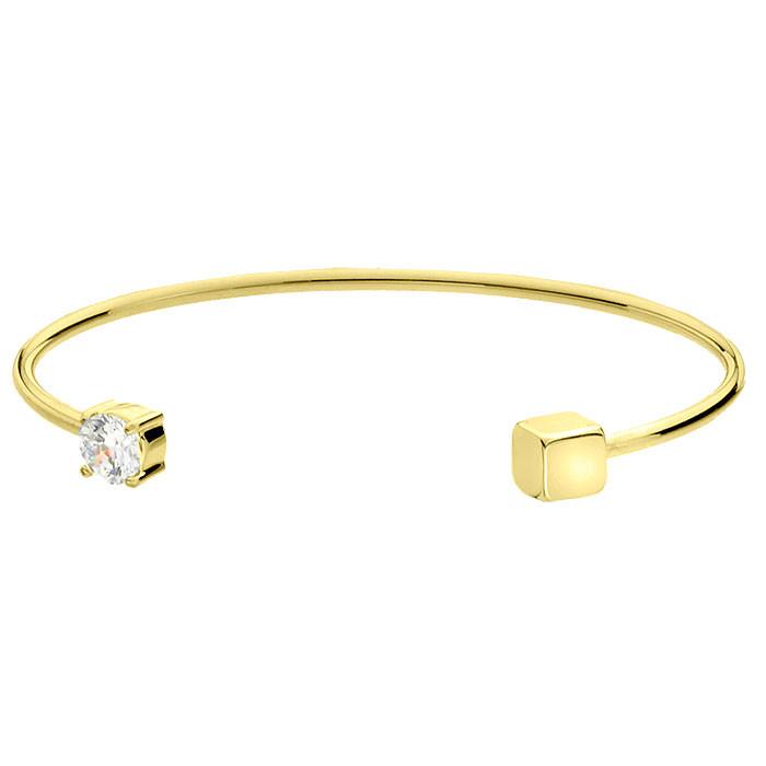 Złota bransoletka damska z cyrkonią