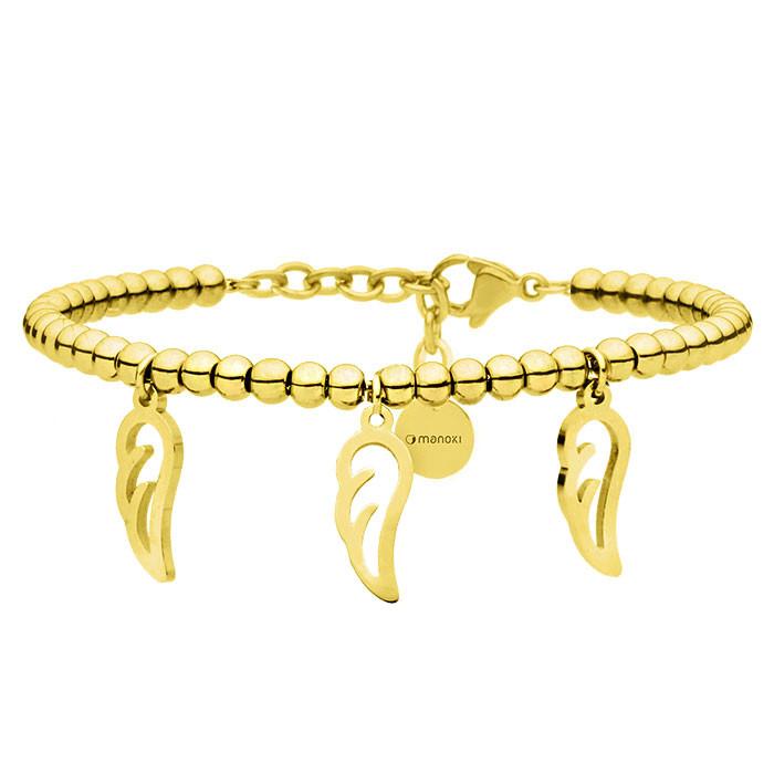 Złota bransoletka damska z piórkami