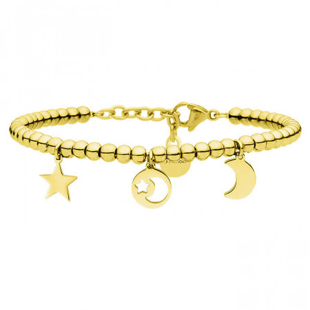 Złota bransoletka z motywem księżyca i gwiazd