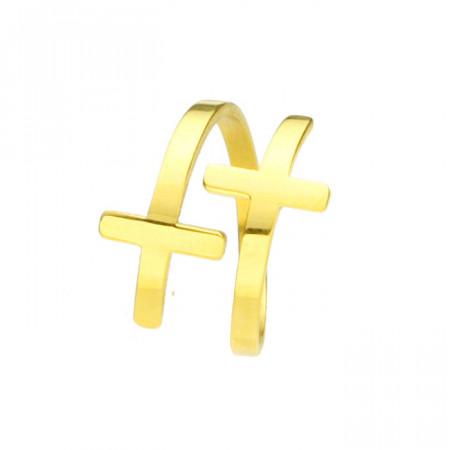 Złota obrączka z krzyżykami