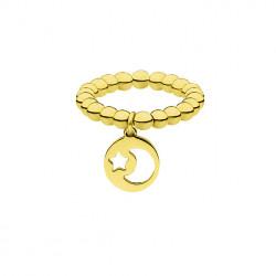 Złota obrączka z kuleczek, motyw księżyca i gwiazd