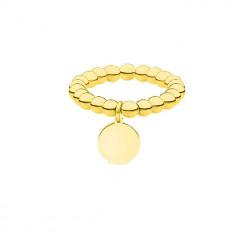 Złota obrączka z kuleczek z medalikiem