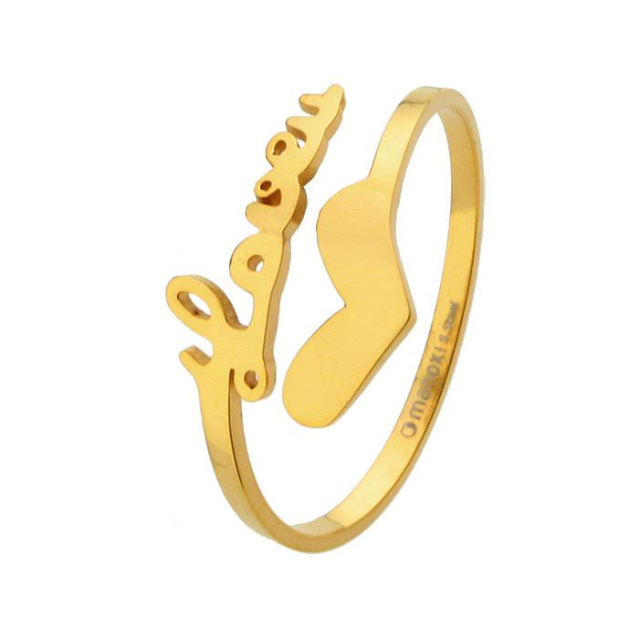 Złota obrączka z sercem i napisem LOVE