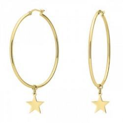 Złote kolczyki koła z gwiazdkami