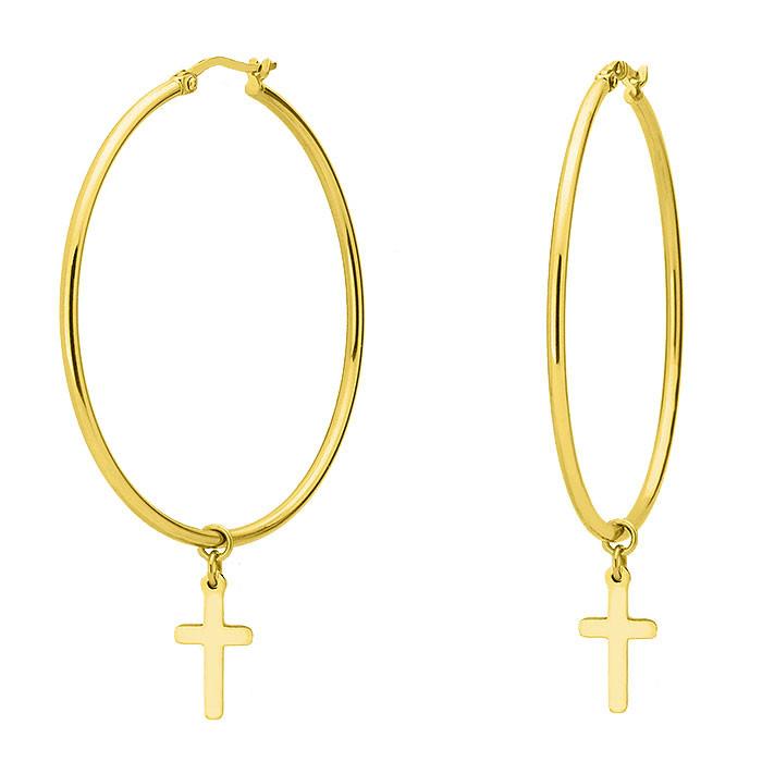 Złote kolczyki koła z krzyżami