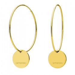 Złote kolczyki koła z okrągłymi zawieszkami