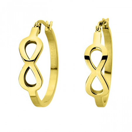 Złote kolczyki koła z symbolem nieskończoności