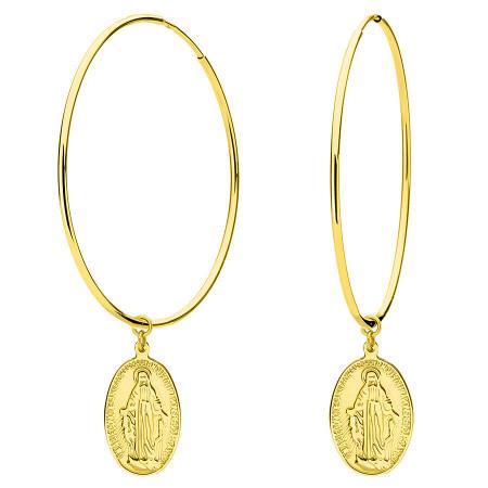 Złote kolczyki z medalikiem