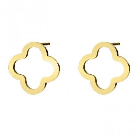 Złote minimalistyczne kolczyki, kwiat, koniczyna