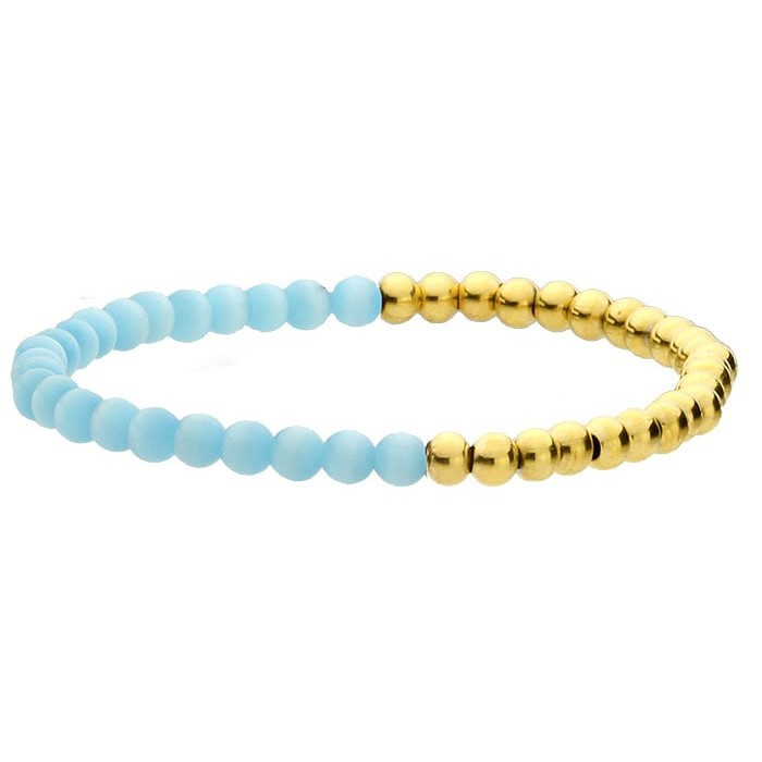 Złoto-niebieska bransoletka damska z kamieni naturalnych i stali szlachetnej