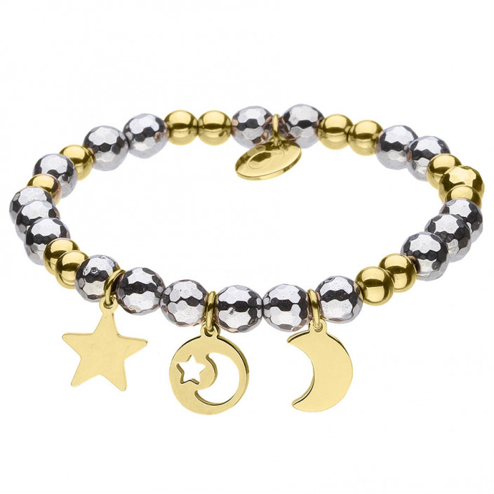Złoty amulet z księżycem i gwiazdką bransoletka z hematytami