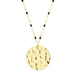 Złoty medalion naszyjnik młotkowany
