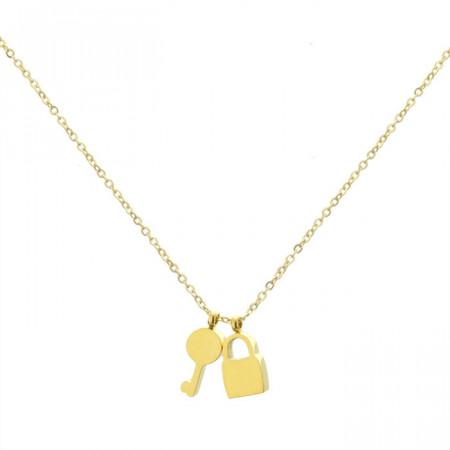 Złoty naszyjnik damski z kluczykiem i kłódką
