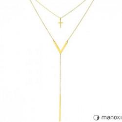 złoty naszyjnik damski z krzyżykiem i patyczkiem