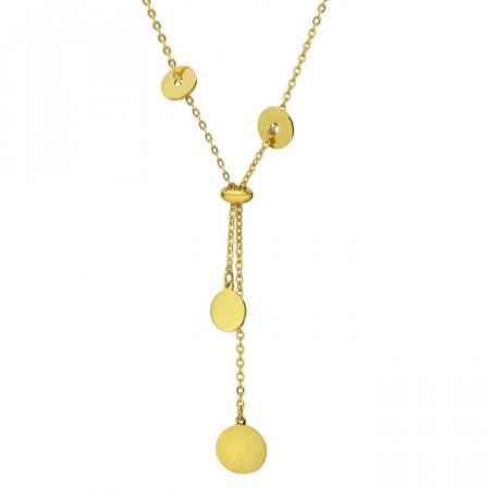 Złoty naszyjnik damski z łańcuszka, z okrągłymi ozdobami
