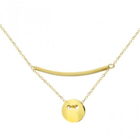 Złoty naszyjnik damski z medalikiem i blaszką