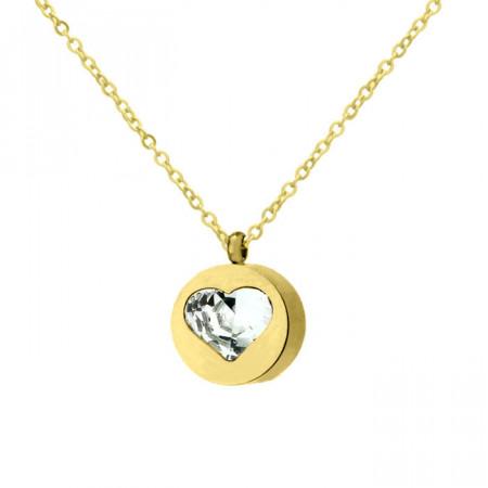Złoty naszyjnik wisiorek damski z serduszkiem, cyrkonia