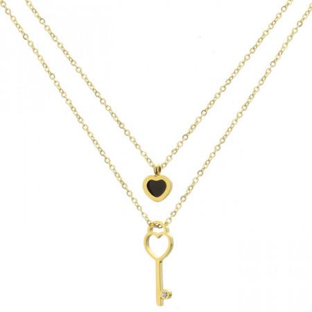 Złoty naszyjnik z kluczykiem i serduszkiem