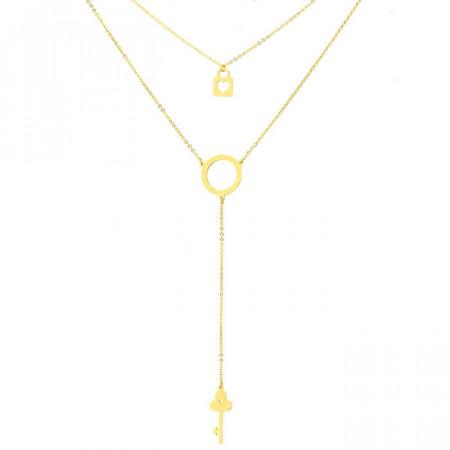 Złoty naszyjnik z kluczykiem, kłódką i kółeczkiem, symbol karmy