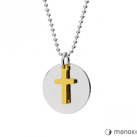 Złoty naszyjnik z krzyżem MODERN, kulkowy łańcuszek
